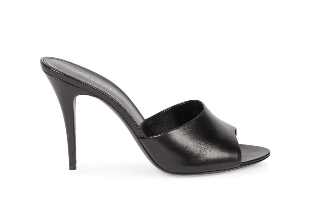 saint laurent, leather mules, pointed toe sandal heels
