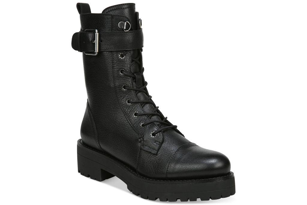 sam edelman, junip lug sole combat boot, black boots
