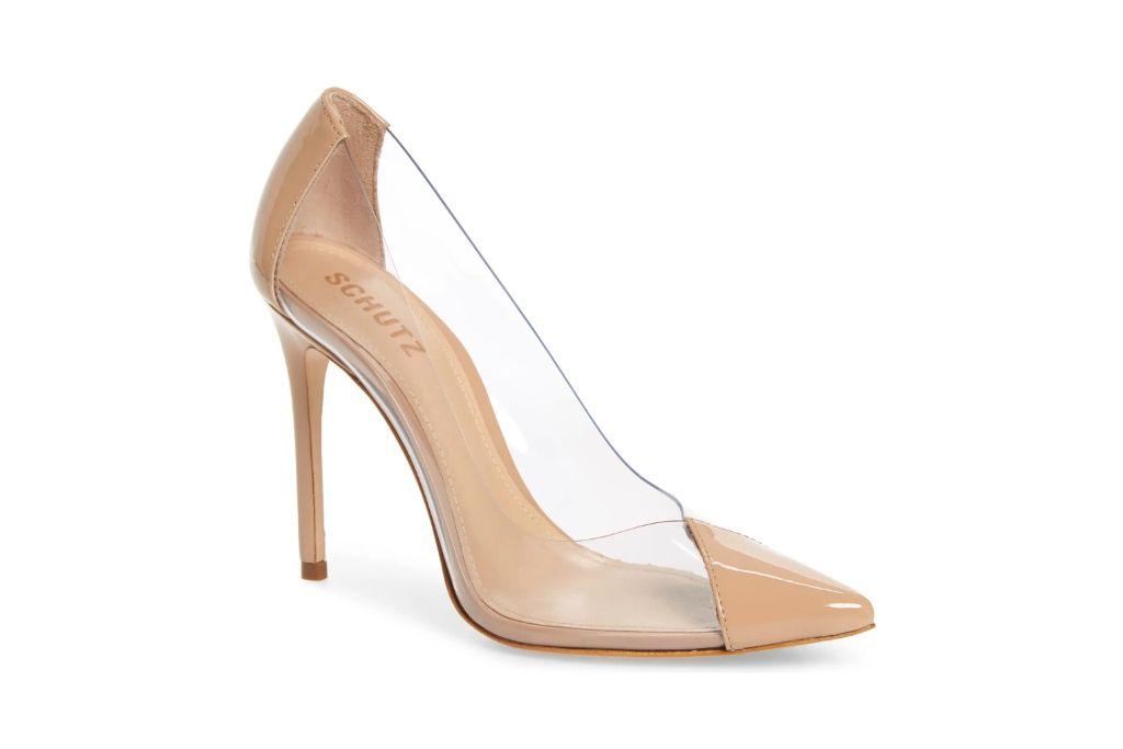 schutz, cendi transparent pump, clear heels