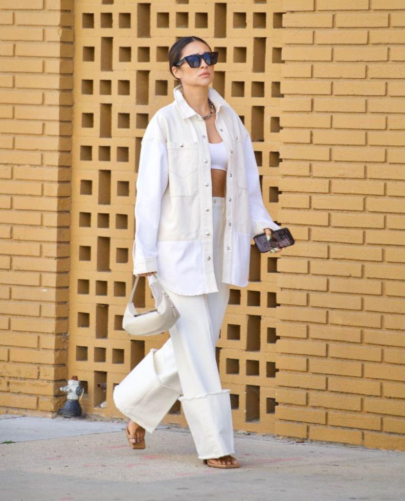 shay mitchell, bralette, jacket, shirt, jeans, white, heels, big toe sandals, la