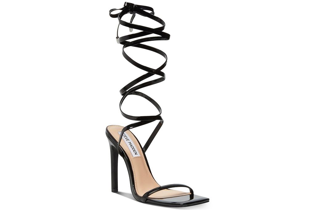 black heels, wrap sandals, steve madden