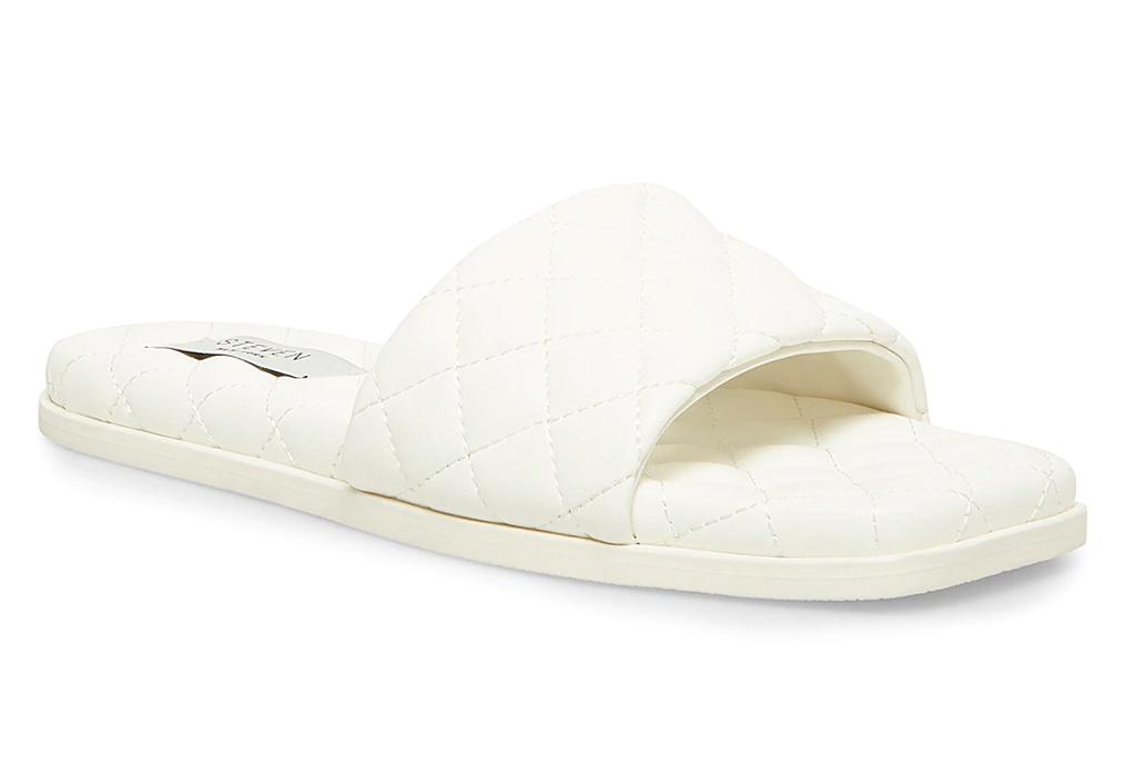 white slides, sandals, steven new york