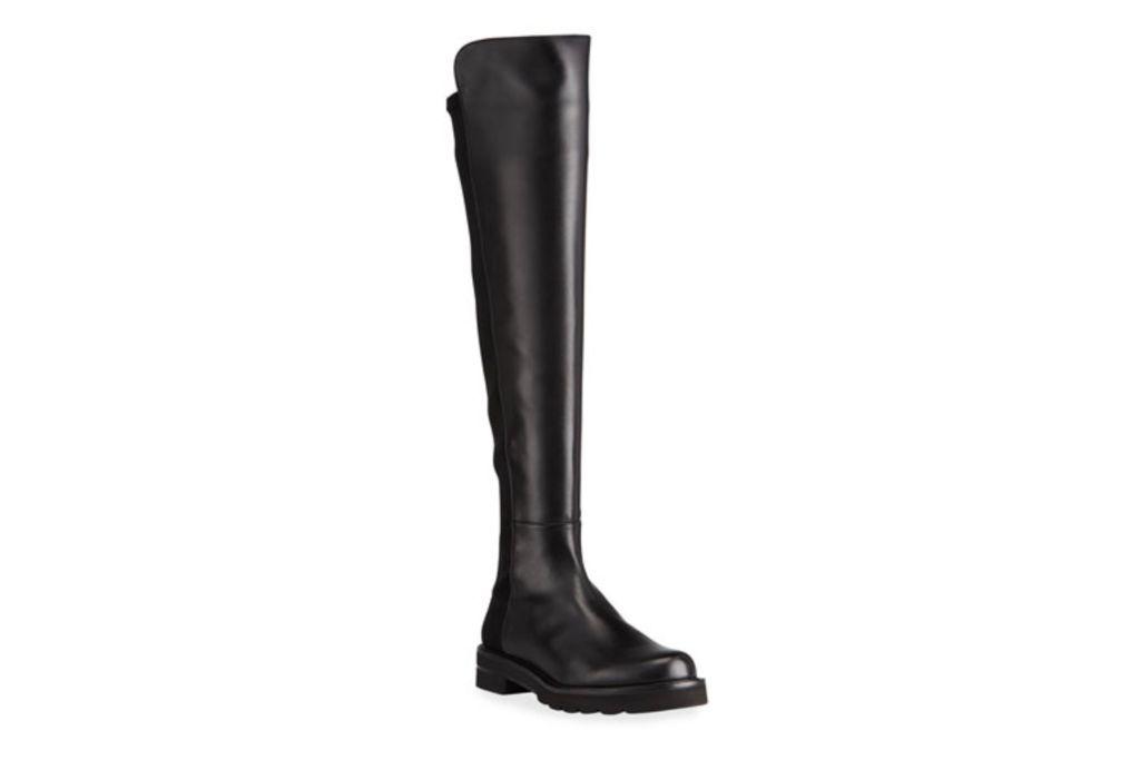 stuart weitzman, leather stretch boot, black boots