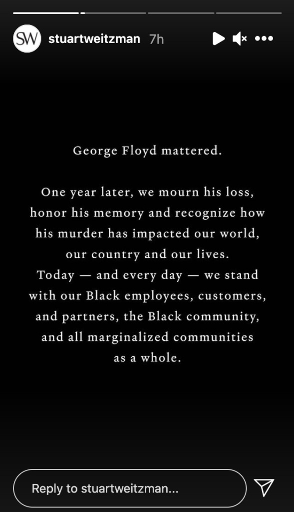 george floyd, death anniversary, stuart weitzman