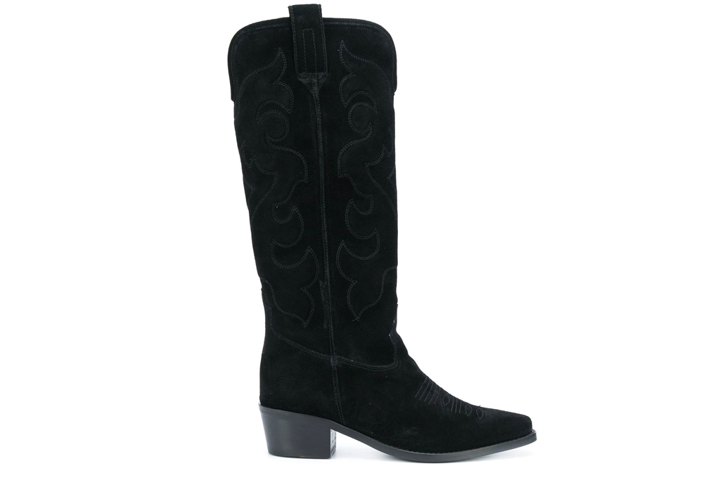 black boots, cowboy, twinset