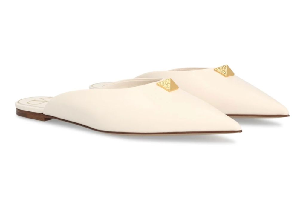 Valentino, Maxi Stud Mules, White Flats