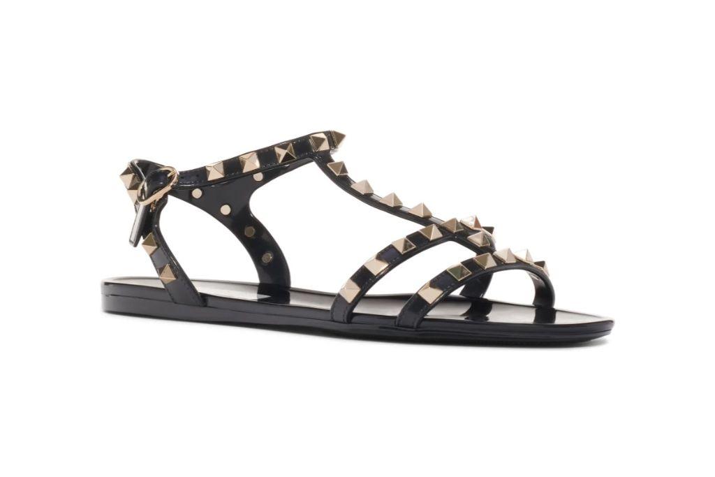 valentino, rockstud sandal, gladiator sandal