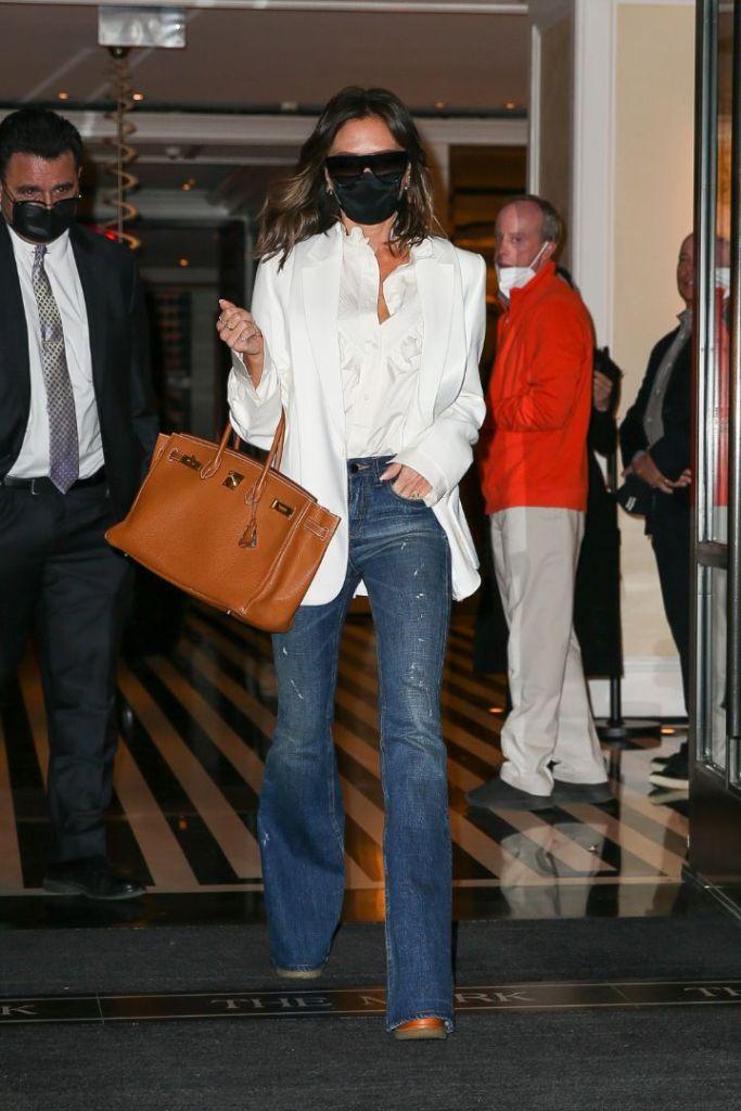 Victoria Beckham, New York, jeans, shirt, platforms