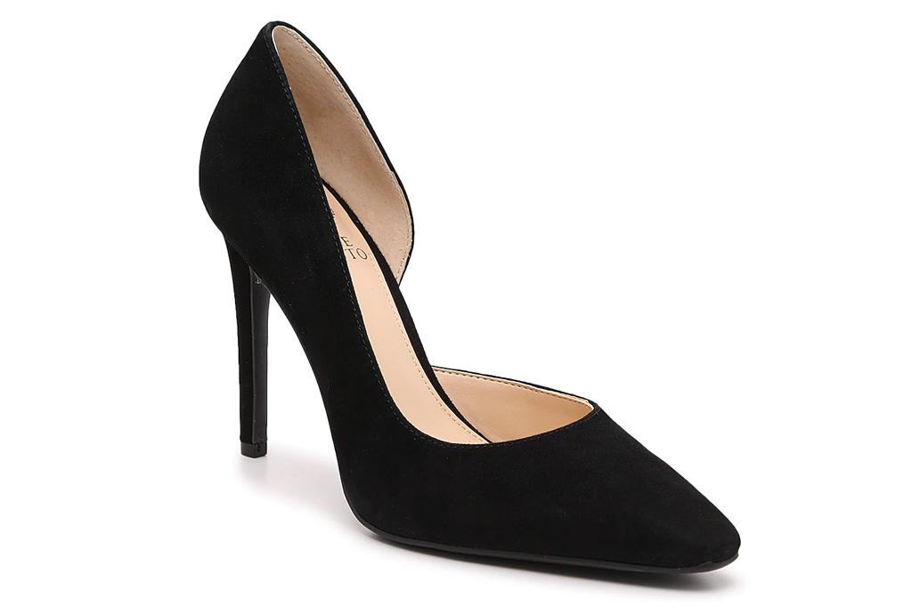 suede heels, black pumps, vince camuto