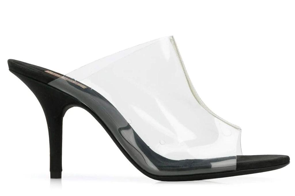 clear heels, mules, yeezy
