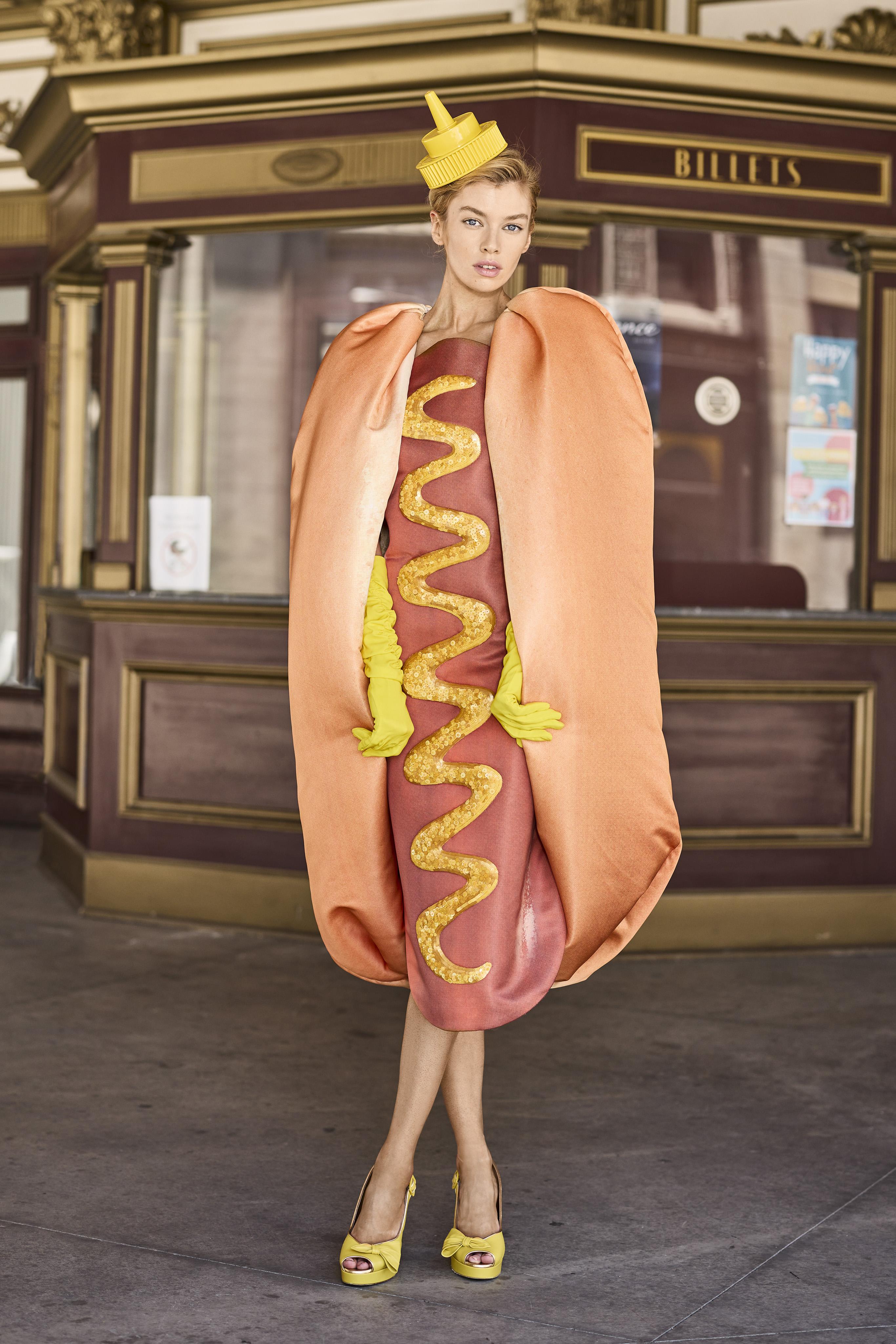 Moschino, hot dog dress, resort 2022