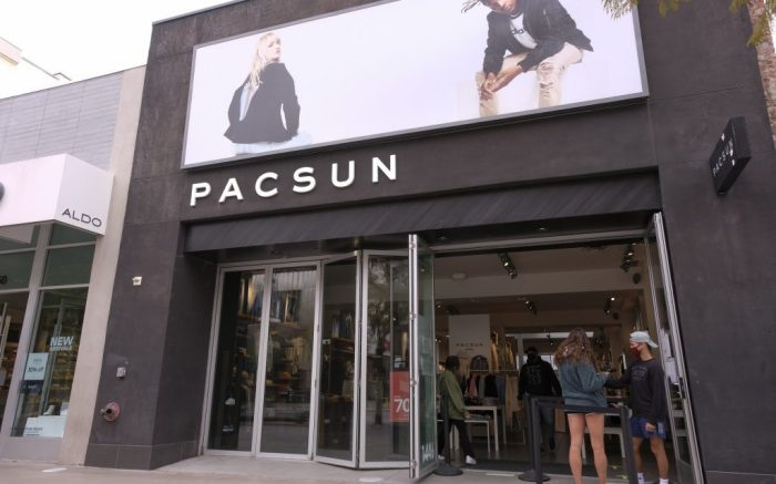 Pacsun store at Third Street Promenade in Santa Monica, Calif., March 7, 2021. (Ringo Chiu via AP)