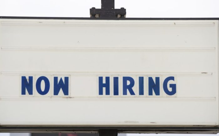 """""""Now Hiring"""" signs outside businesses in Indianapolis, IN on May 7, 2021. With businesses re-opening, many employers are looking to re-hire as quickly as possible. (Photo by Jason Bergman / Sipa USA)(Sipa via AP Images)"""