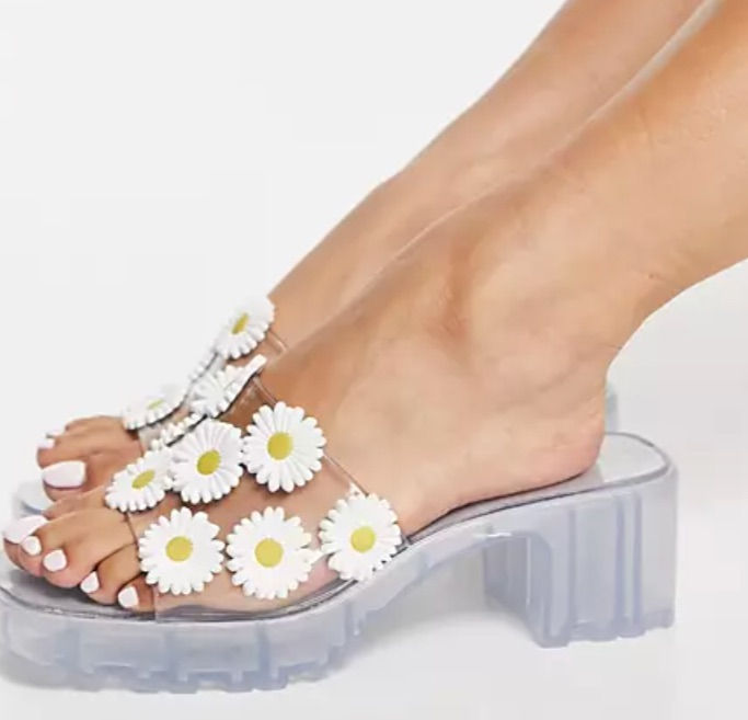 Asos Design Heat Floral Jelly Heeled Mules, best jelly shoes and sandals