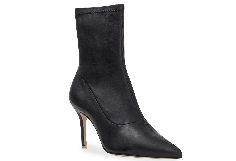 Black Suede Studio Akiyo Stretch Leather Ankle Booties $320