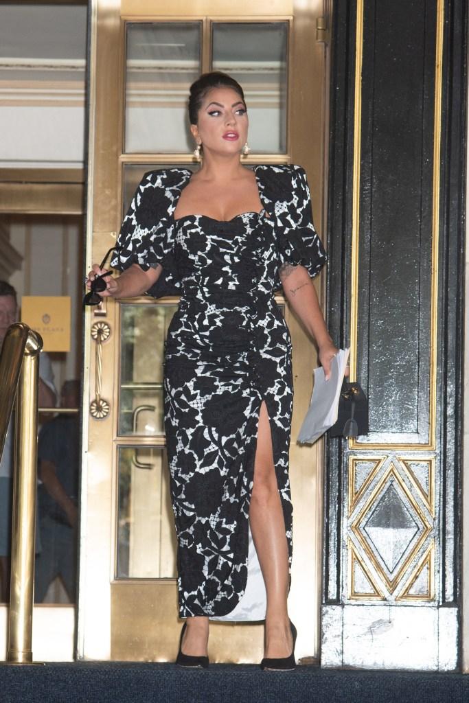 jimmy choo romy 100 pumps, Giuseppe di Morabito dress, Lady Gaga Sighting in NYC Midtown, NY. 30 Jun 2021 Pictured: Lady Gaga. Photo credit: RCF / MEGA TheMegaAgency.com +1 888 505 6342 (Mega Agency TagID: MEGA766435_001.jpg) [Photo via Mega Agency]