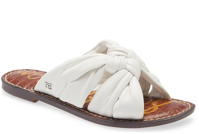 white sandals, tan, slides, sam edelman