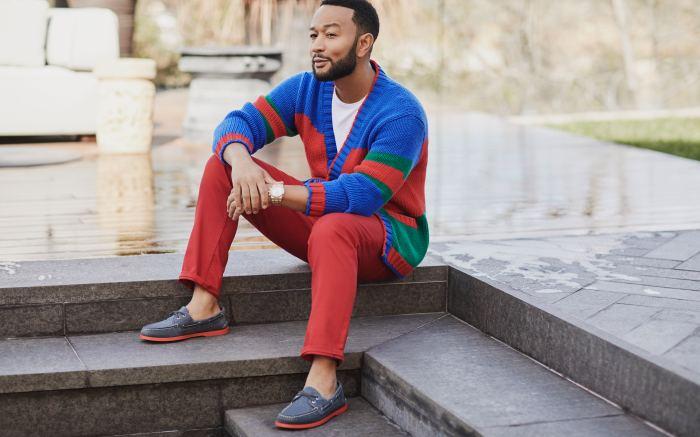 John Legend wearing Sperry boat shoes
