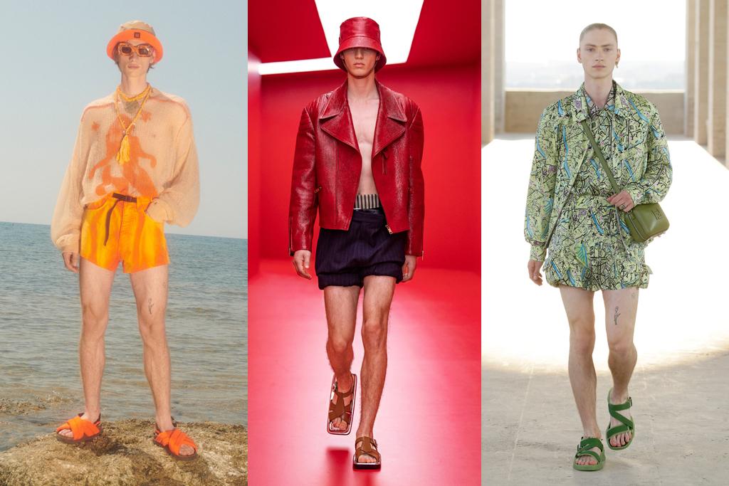 vêtements pour hommes, mode masculine, shorts courts pour hommes, tendances shorts pour hommes, mode masculine, mode, printemps 2022 hommes, semaine de la mode masculine à milan, mode printemps 2022, mode, sandales moches, sandales pour hommes