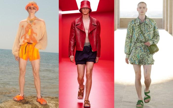 menswear, men's fashion, men's short shorts, men's shorts trends, men's fashion, fashion, spring 2022 men's, milan men's fashion week, spring 2022 fashion, fashion, ugly sandals, men's sandals
