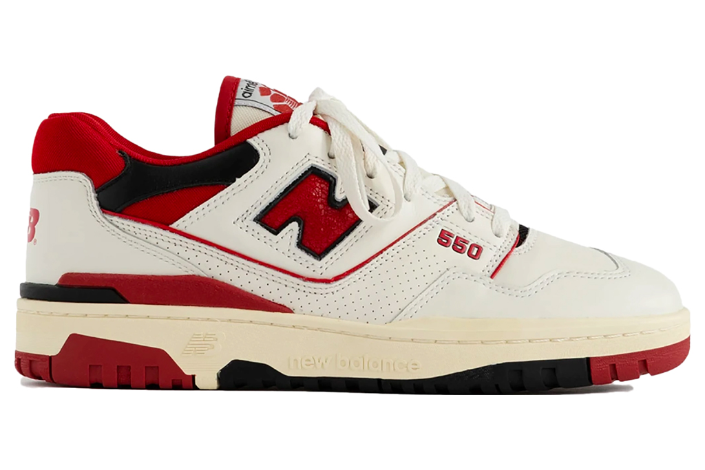 new balance, aime leon dore, sneakers, red, black