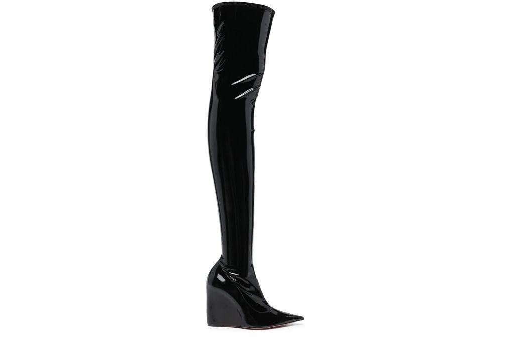 amina mauddi, glossy boots, over the knee boots