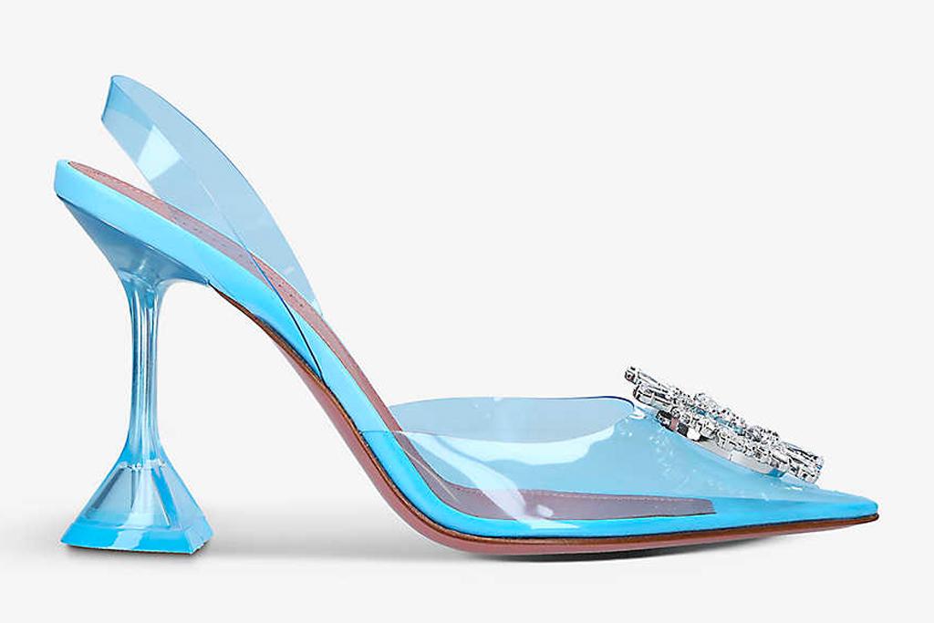 amina muaddi, begum, heels, blue