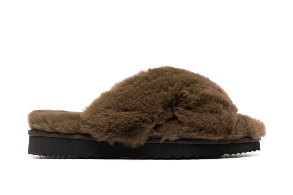 apparis, elsa faux fur slides, brown fuzzy slippers