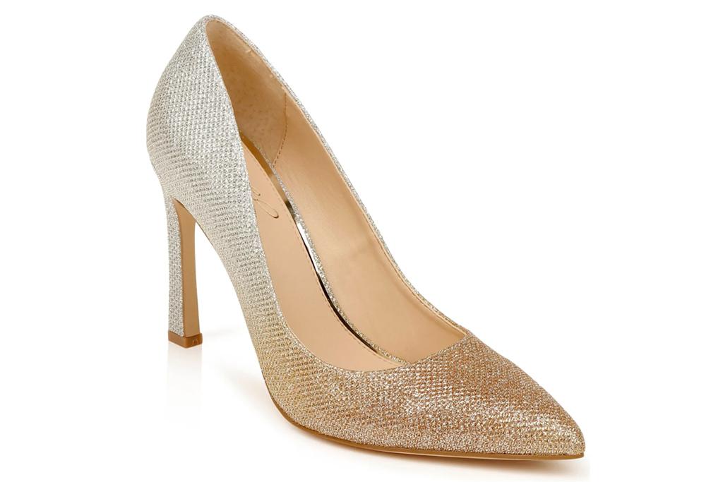 gold heels, pumps, badgley mischka
