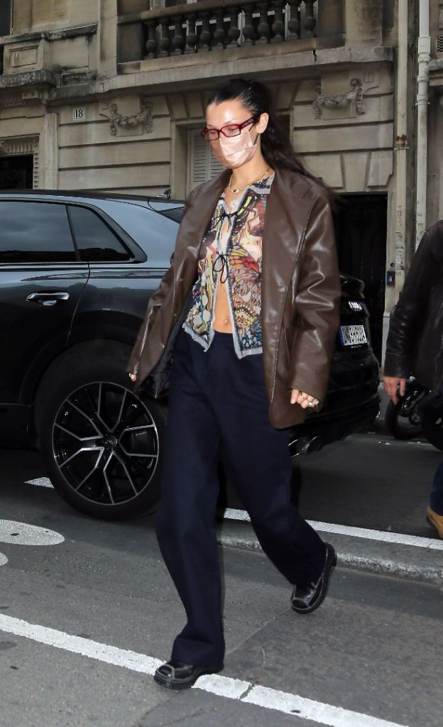 bella hadid, crop top, risky, shirt, sheer, leather jacket, paris, pants, sneakers, shoes