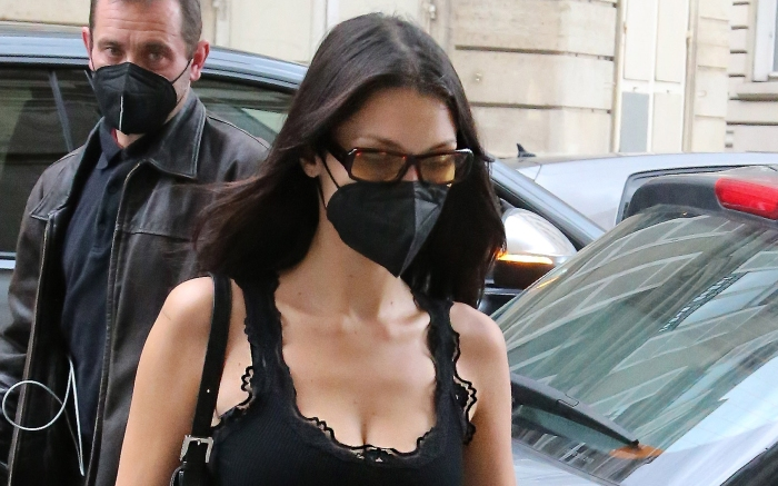 Bella Hadid on her way to the Jacques Muss fitting in Paris
