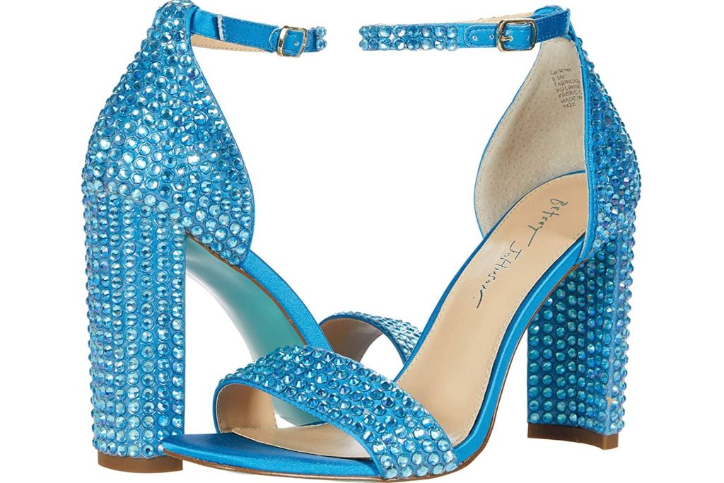 betsey johnson, glitter heels