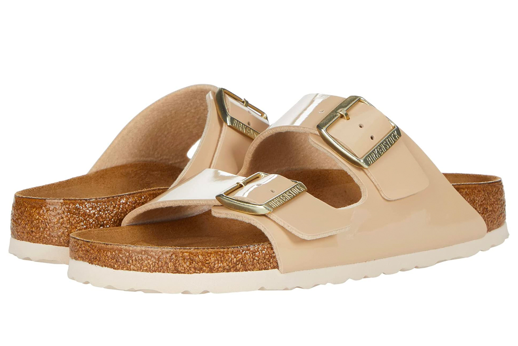 sandals, tan, slides, double strap, birkenstock