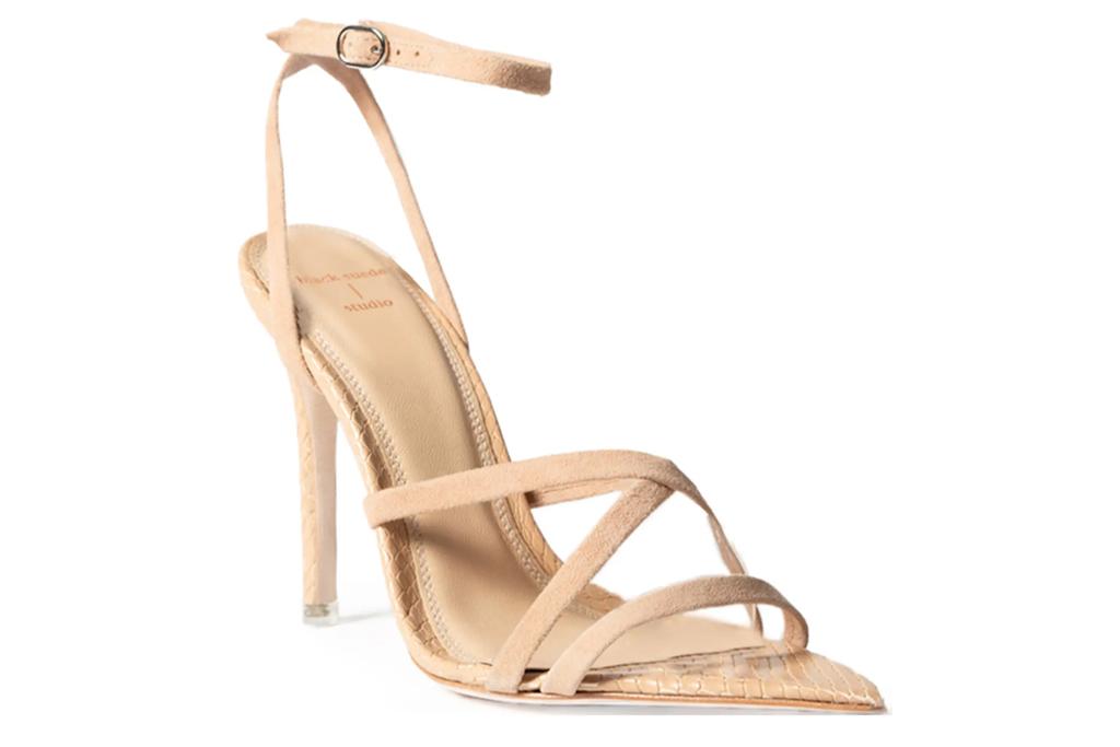 nude heels, sandals, black suede studio