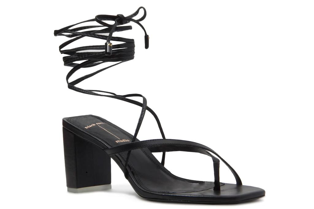 black sandals, heels, thong toe, black suede studio