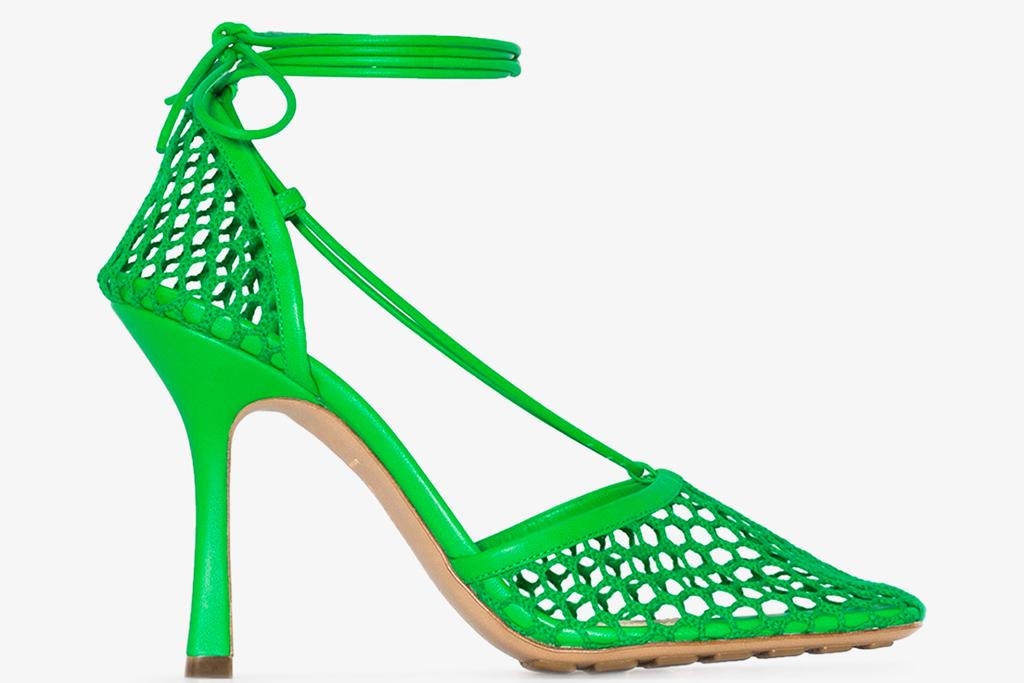 bottega veneta, green, heels, fishnet