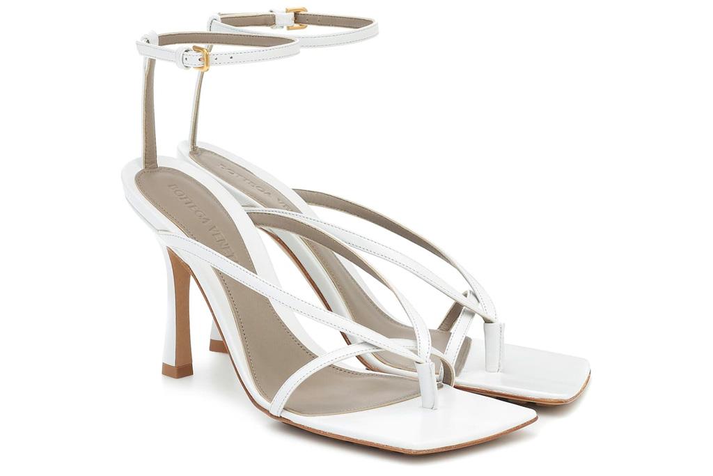 bottega veneta, thong sandals, heels, stretch, white