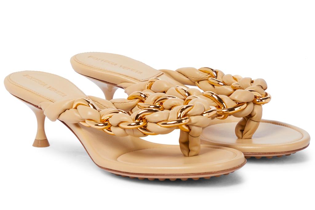 bottega veneta, thong sandals, dot, gold