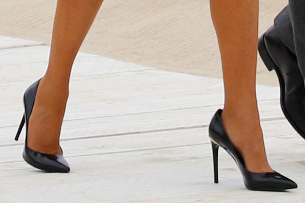 brigitte macron, french first lady, dress, blue, jacket, heels, pumps, boris johnson, wife, england, summit