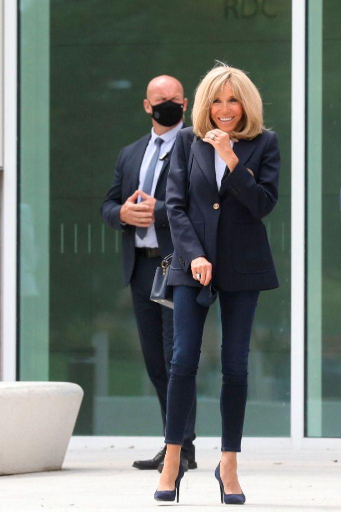 brigitte macron, french first lady, blazer, skinny jeans, heels, navy, vote, president, office