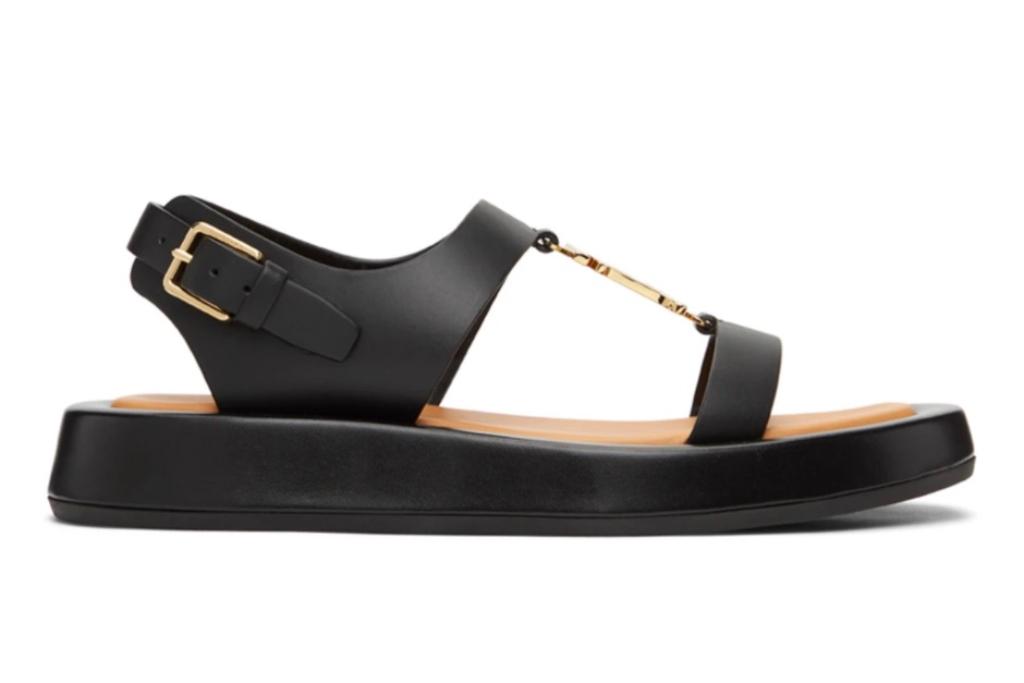 burberry, monogram motif sandals, black sandals