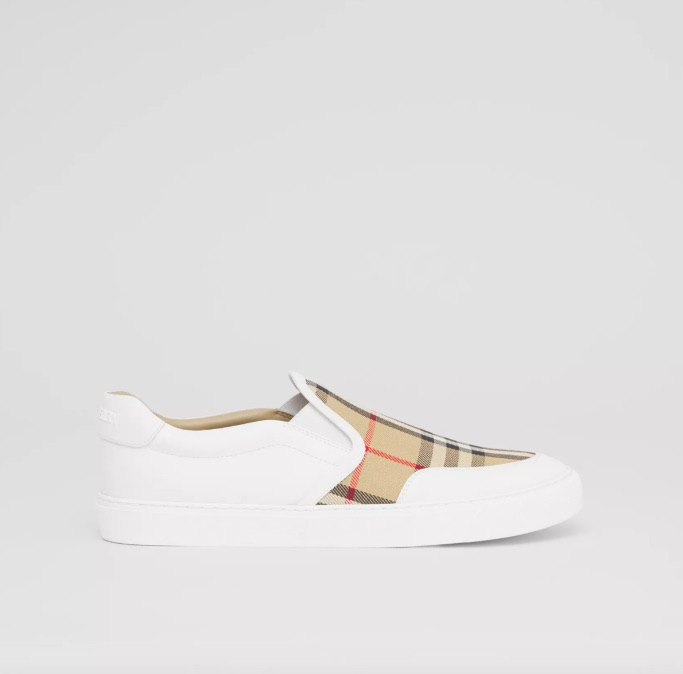 Burberry leather and vintage check slip-on sneakers, best slip-on sneakers for women