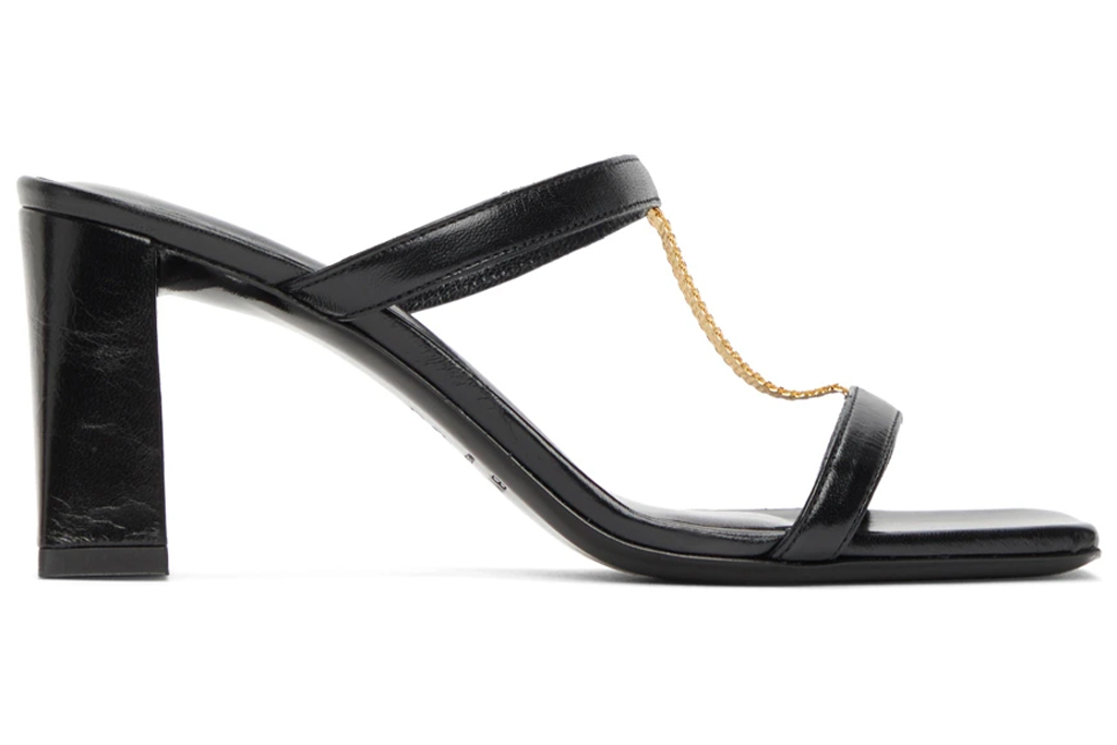 black mules, square toe, double strap, by far