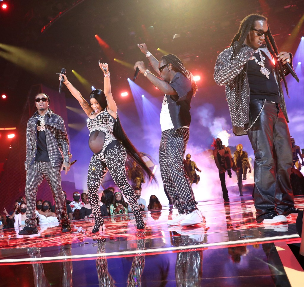 LOS ANGELES, CALIFORNIA - JUNE 27: Cardi B (second from L) and (L-R) Quavo, Offset, and Takeoff of Migos perform onstage at the BET Awards 2021 at Microsoft Theater on June 27, 2021 in Los Angeles, California. (Photo by Bennett Raglin/Getty Images for BET)