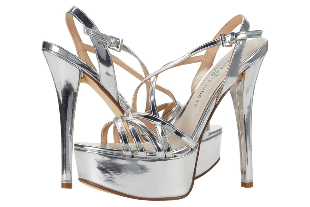 silver heels, platform, sandals, chinese laundry