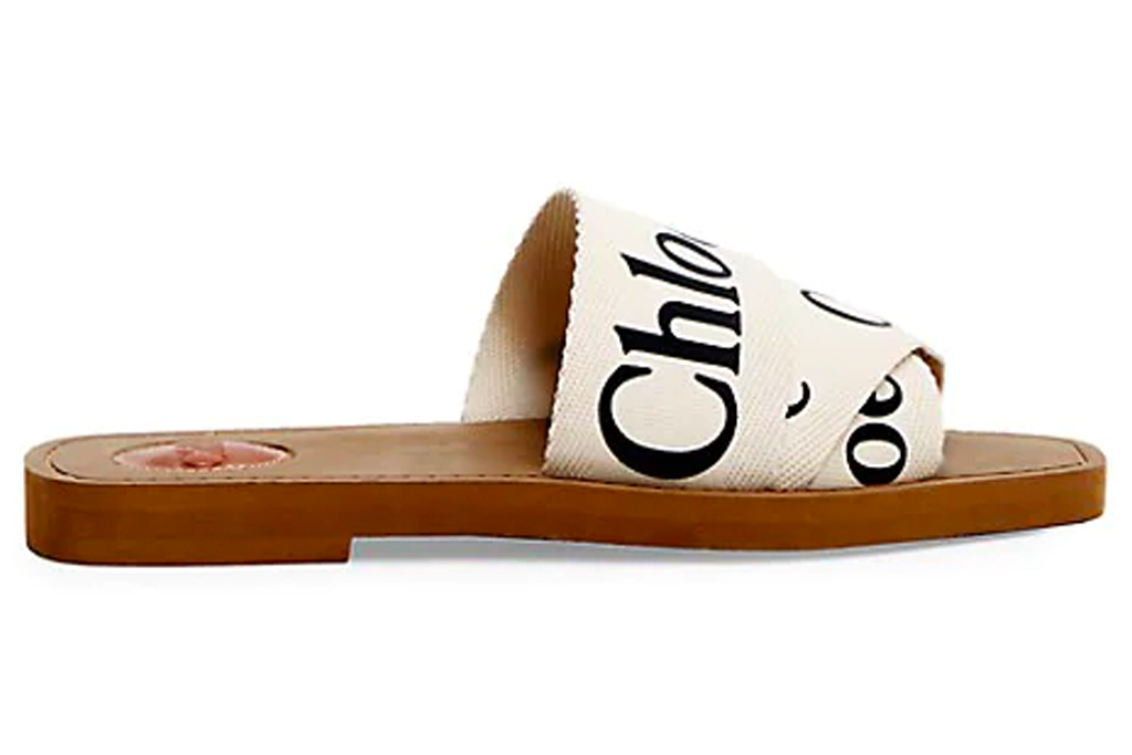 slides, sandals, logo, chloe