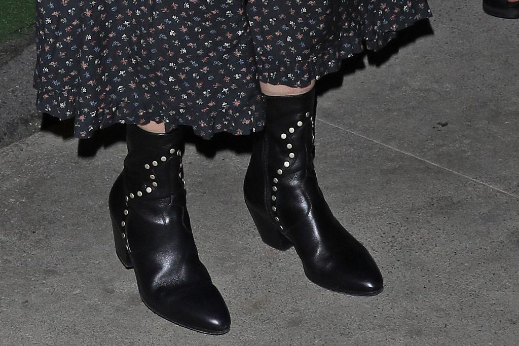 courteney cox, dress, floral, boots, dinner, la, date