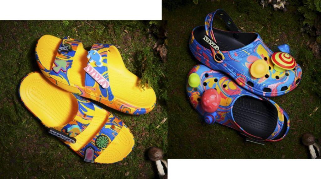 crocs, diplo, clogs, slides, sandals, tie-dye, mushrooms, trippy
