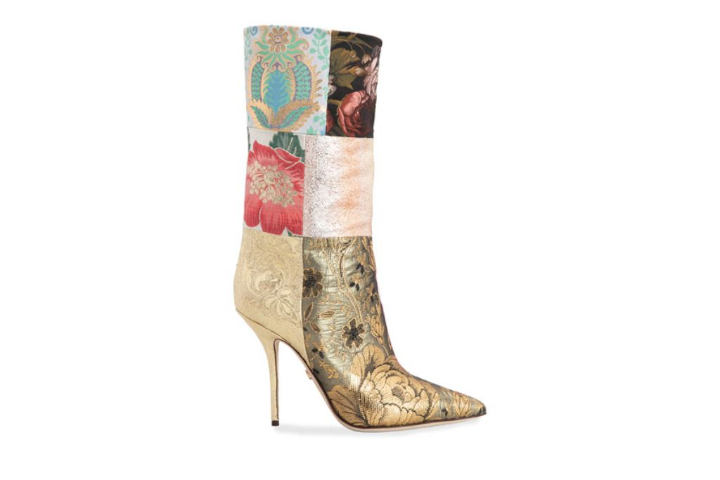 dolce gabbana, patchwork boots, floral boots