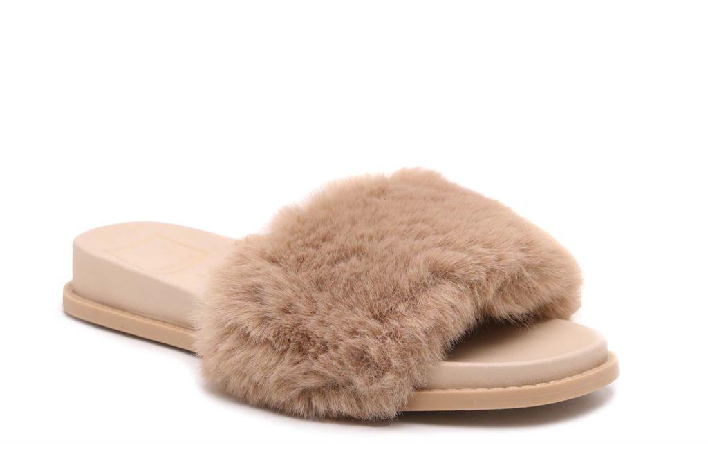 dolce vita, giles slide sandal, brown fuzzy sandals